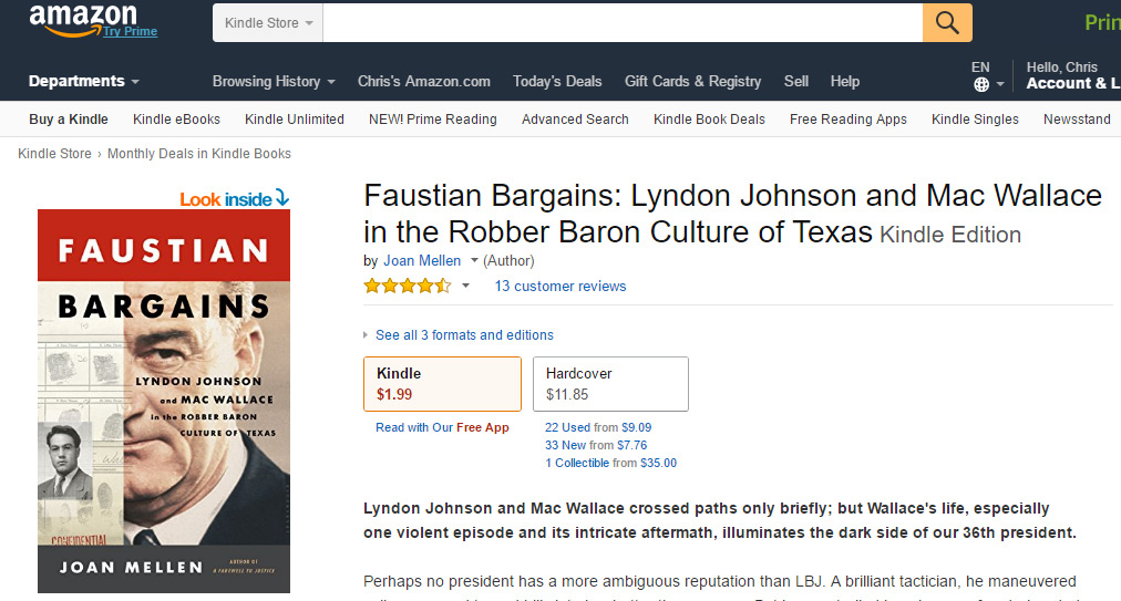 Amazon Kindle Book Of The Month Faustian Bargains Lyndon